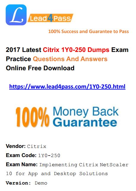 2017 PDF free download] Update Latest Citrix 1Y0-250 Dumps PDF