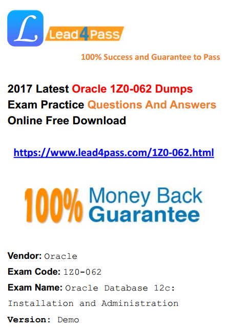 2017 PDF free download] Free Latest 1Z0-062 Dumps Oracle
